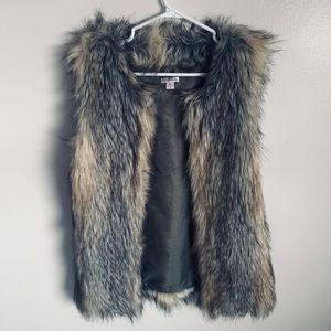 Olive green and light brown fake fur vest. Small